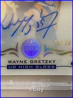 18/19 UD Clear Cut Wayne Gretzky High Gloss Auto #ed 8/10 Autograph RARE WOW