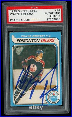 1979-80 O-pee-chee Opc Wayne Gretzky #18 Rookie Rc Psa 8 Auto Authentic Centered
