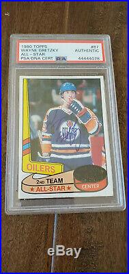 1980-81 Topps Signed All Star Card Wayne Gretzky Vintage Auto Oilers Psa/dna 87