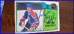 1983-84 Opc Signed Auto Scoring Leader Card Wayne Gretzky Oilers Kings Wha # 217