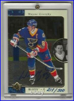 1995-96 SP Autographed #127 Wayne Gretzky 217/500 with Certificate of Auth BLUES