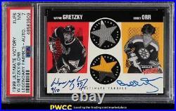 1999 Ultimate Victory Legendary Wayne Gretzky Bobby Orr PATCH AUTO /10 PSA 7