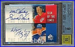 2000-01 Sp Authentic Sign Of The Times Gordie Howe Wayne Gretzky Autograph Card