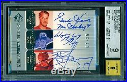 2001-02 Sp Authentic Sign Of The Times Howe Gretzky Yzerman 4/25 Autograph