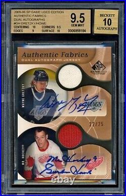 2005-06 Sp Game Used Autograph Jersey Patch Gordie Howe Wayne Gretzky 22/25