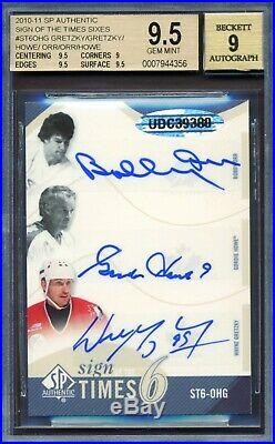 2010-11 Sp Authentic Sign Of The Times Sixes Howe Gretzky Orr 6/7 Dual Autograph