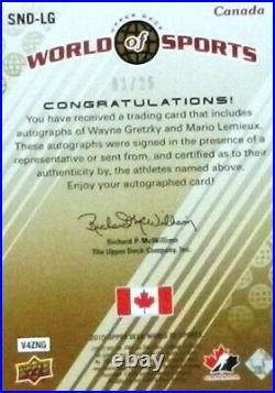 2010 ud world sports nation gretzky-lemieux team canada dual autograph auto 1/25