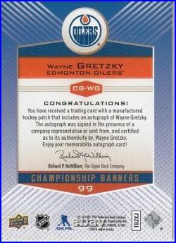 2013-14 Edmonton Oilers Collection Championship Banners Wayne Gretzky 87-88 Auto