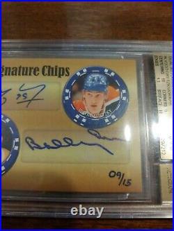 2015 Upper Deck Icons Dual Autographs LV2GO Gretzky Orr /15 Auto 9.5 Beckett