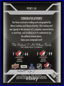 2016-17 UD Black Pro Penmanship Combos /5 Mario Lemieux Wayne Gretzky Auto HOF