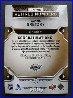 2020-21 UD Black Diamond Wayne Gretzky Retired Numbers Patches Auto Gold #2/9