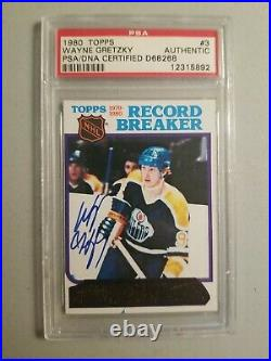 Autographed 1980 Topps #3 Wayne Gretzky PSA/DNA Certified