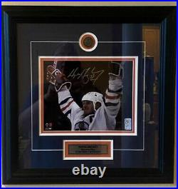 Autographed WGA Wayne Gretzky Oilers 4-Time Cup Champs Framed Picture