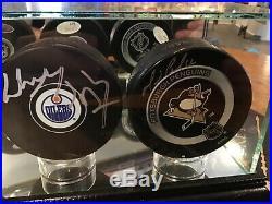 Gretzky Hull Lemieux Signed Hockey Pucks (case not included)