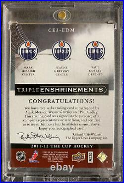 The Cup Triple Enshrinements Gretzky, Messier, Coffey Autographed 10/10