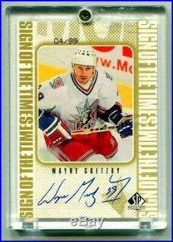 WAYNE GRETZKY 1998-99 UD SP Authentic Sign of the Times SOTT Gold Auto HOF 4/99