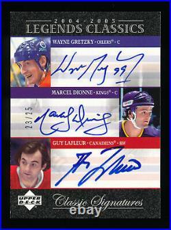 WAYNE GRETZKY MARCEL DIONNE GUY LAFLEUR 2004-05 Legends Classics Auto Signatures