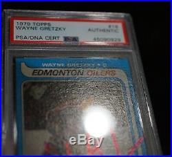 WAYNE GRETZKY Signed 1979 Topps Rookie RC Card #18 PSA slabbed Auto 0929