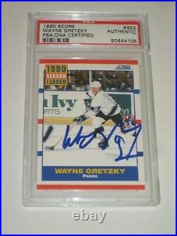WAYNE GRETZKY Signed 1990 SCORE Card #353 PSA Certified