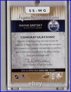 Wayne Gretzky 2014-15 Ud Signature Sensations Oilers Ssp Autograph Ss-wg Auto Sp