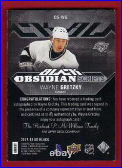 Wayne Gretzky 2017/18 Ud Black Obsidian Scripts Hard Signed Auto 24/25 Only