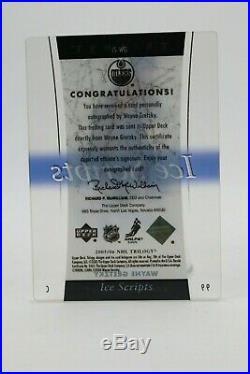 Wayne Gretzky Autographed Ice Scripts Trilogy Upper Deck Hockey Card Signed 2005