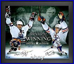 Wayne Gretzky, Connor McDavid Oilers Frmd Signed 20x24 Passion For Winning Photo