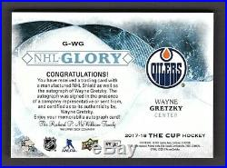 Wayne Gretzky Edmonton Oilers 2017-18 The Cup NHL Shield & Auto Card 01/10