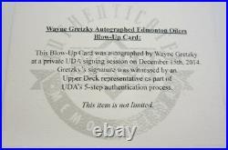 Wayne Gretzky Edmonton Oilers Signed Autographed Blow Up Card Framed UDA Coa