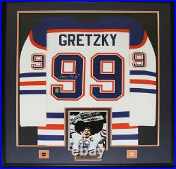 Wayne Gretzky Edmonton Oilers Signed jersey NHL Hockey Collector Frame (white)
