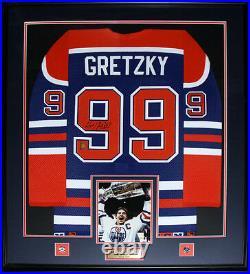 Wayne Gretzky Edmonton Oilers Signed jersey NHL Hockey Frame (blue and orange)