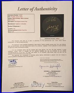 Wayne Gretzky Mario Lemieux Autographed Hockey Puck Oilers Penguins JSA LOA RARE