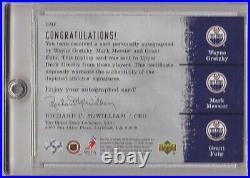 Wayne Gretzky Mark Messier Grant Fuhr 2000-01 Sp Authentic Triple Sott Auto /25