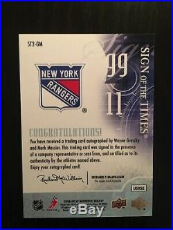 Wayne Gretzky/Mark Messier Upper Deck Dual Auto Sign of the Times SP NY Rangers