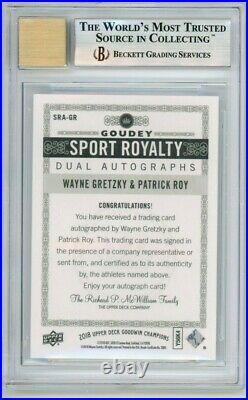 Wayne Gretzky & Patrick Roy 2018 Goodwin Champions auto, autograph BGS 9, AU 10