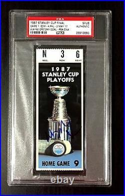 Wayne Gretzky Signed 1987 Stanley Cup Game 1 Ticket Stub Edmonton Oilers Psa