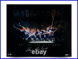 Wayne Gretzky Signed Autographed 16X20 Photo Art of the Slapshot Oilers UDA