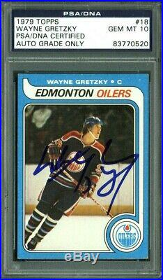 Wayne Gretzky Signed Card 1979 Topps RC #18 Auto Graded Gem 10! PSA Slabbed 1
