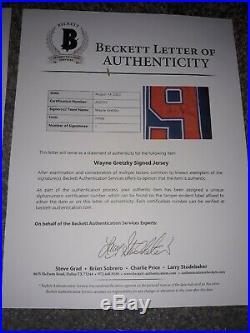 Wayne Gretzky Signed Edmonton Oilers Hockey Jersey HOF BAS Beckett BAS LOA