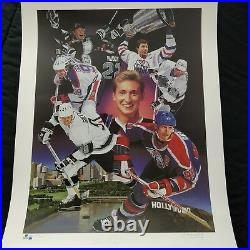 Wayne Gretzky Signed UD Danny Day Art Poster 28x22 Global Authentics #/880