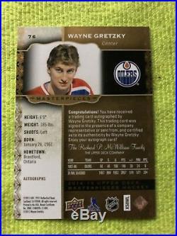 Wayne Gretzky Ud Masterpieces Auto Card