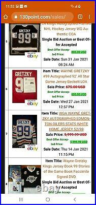 Wayne gretzky autographed jersey. (WGA COA) 52/99 pro 4 time cup patches. VHTF