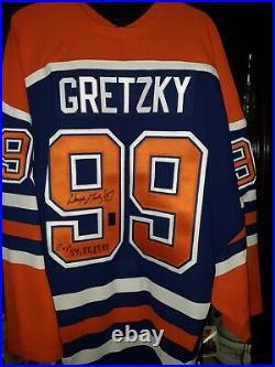 Wga Wayne Gretzky Autographed 4 Cups (84, 85, 87, 88) Blue Away Jersey #'d 82/99